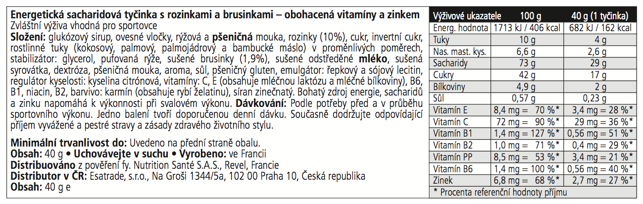 BAR High Energy s Rozinkami a Brusinkami CZ 103x33 NEW 2015