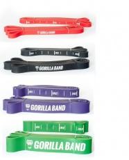 GORILLA Power Band - posilovací guma Set č.2 (odpor 87kg) - červená, černá, zelená, fialová