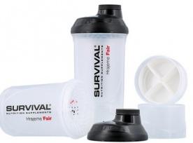 Survival Šejkr bílý transparentní se zásobníky - 600 ml