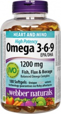 Webber Naturals Omega 3-6-9 Extra Strenght 150 tablety