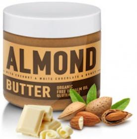SizeAndSymmetry Mandlové máslo 500g - s kokosem, bílou čokoládou a medem