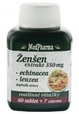 MedPharma Ženšen 350 mg + echinacea + leuzea 67 tablet