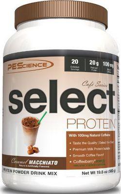 PEScience Select Protein Cafe Series US 560 g - Caramel Macchiato + šejkr ZDARMA