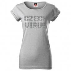 Czech Virus Dotted Dánské triko světle šedé