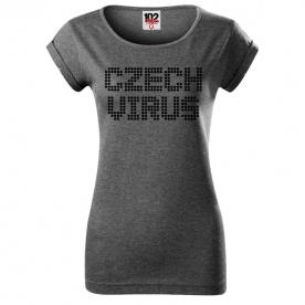 Czech Virus Dotted Dámské triko tmavě šedé