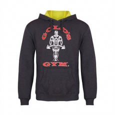 Gold's Gym pánská mikina tmavě šedá s červeným logem