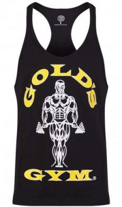 Gold's Gym pánské tílko černé se žluto bílým logem