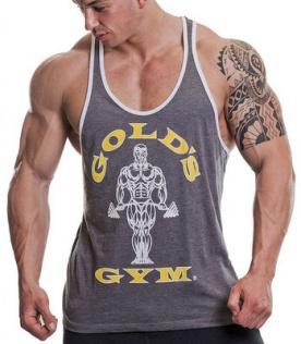 Gold's Gym pánské tílko šedé s bílými lemy