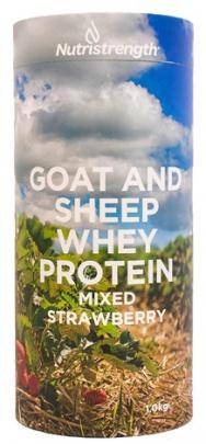 Nutristrength kozí a ovčí whey protein 1000g - jahoda VÝPRODEJ