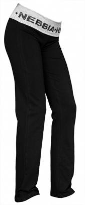 Nebbia Elastické kalhoty rovné 675 černo / šedé