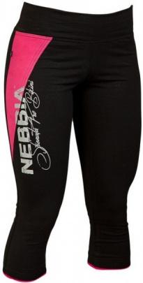 Nebbia Dámské 3/4 elastické fitness legíny 666 černo/růžové