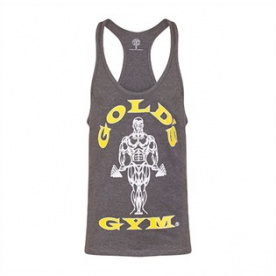 Gold's Gym pánské tílko šedé s žluto bílým logem