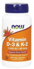 Now Foods Vitamin D3 a K2 1000 IU 120 kapslí