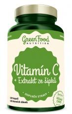 GreenFood Vitamín C + Extrakt ze šípků 200 mg 120 kapslí