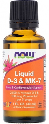 Now Foods Tekutý Vitamin D3+K2 30 ml
