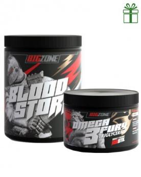 Big Zone Blood Storm malina 400g + Omega 2 Fury Triglyceride 120 kapslí