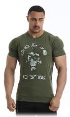 Gold's Gym Pánské tričko Slim Fit Stretch GGTS144 khaki