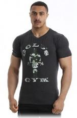 Gold's Gym Pánské tričko Slim Fit Stretch GGTS144 tmavě šedá