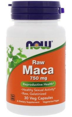 Now Foods Raw Maca 750 mg 30 rostlinných kapslí