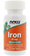 Now Foods Iron Ferrochel (železo chelát) 18 mg 120 kapslí