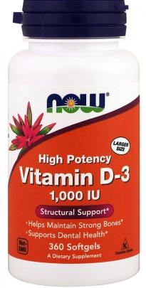 Now Foods Vitamin D3 1000 IU 360 kapslí