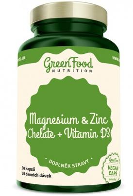 GreenFood Hořčík a Zinek Cheláty + Vitamín D3 90 kapslí