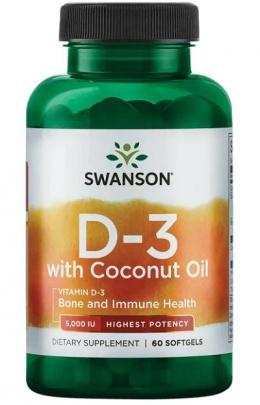 Swanson Vitamín D3 5000 IU s kokosovým olejem 60 kapslí