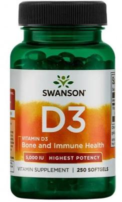 Swanson Vitamín D3 5000 IU 250 kapslí