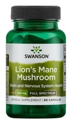 Swanson Lion's Mane Mushroom 500 mg 60 kapslí