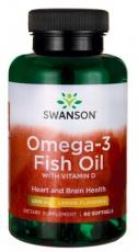Swanson Omega 3 s vitamínem D 60 kapslí