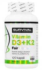 Survival Vitamin D3+K2 Fair Power 120 kapslí