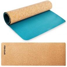 Spokey SAVASANA jóga podložka na cvičení korková 4 mm - modrá