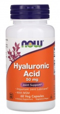 Now Foods Hyaluronic Acid 50 mg + MSM 60 kapslí