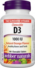 Webber naturals D3 1000 IU 180 žvýkacích tablet - pomeranč