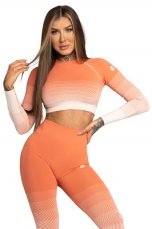 Gym Glamour Crop Top Coral Ombre