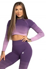 Gym Glamour Crop Top Violet Ombre - S
