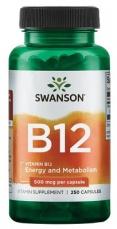 Swanson Vitamin B12 500 mcg 250 kapslí