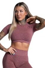Gym Glamour Crop-Top s krátkým rukávem Rose VÝPRODEJ