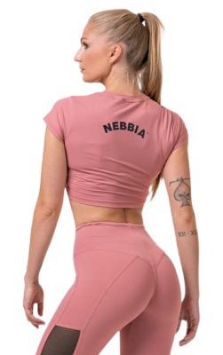 Nebbia Sporty Hero crop top s krátkým rukávem 584 old rose