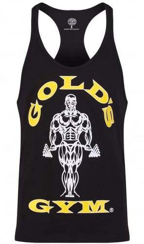 Levně Golds Gym Gold's Gym pánské tílko černé se žluto bílým logem - M