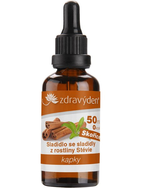 Levně Zdravý den Stevia kapky 50ml - skořice