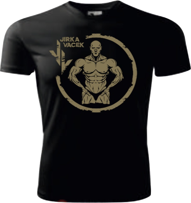 Levně Fitness007 Jirka Vacek Pánské tričko černé se zlatým logem - L