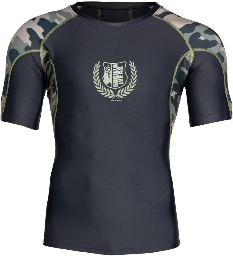 Levně Gorilla Wear Pánské tričko Cypress Rashguard Short Sleeves Black/Army Green - L