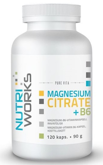 Levně NutriWorks Magnesium Citrate + B6 120 kapslí