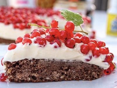 Rychlý letní a zdravý rybízový koláč. Málo cukru, hodně bílkovin.