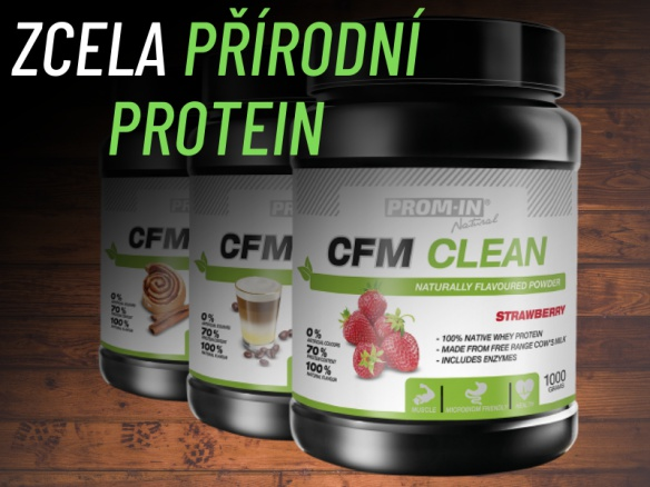 100% přírodní proteinový nápoj CFM STEVIA vyrobený z nativního syrovátkového proteinu