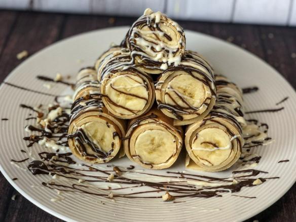 Vanilkové palačinky s banánem a čokoládou